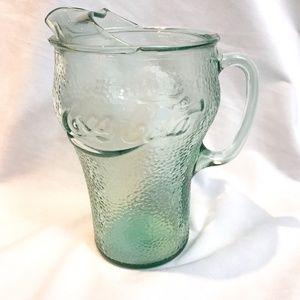 Vintage Coca Cola Green Pebbled Glass Pitcher